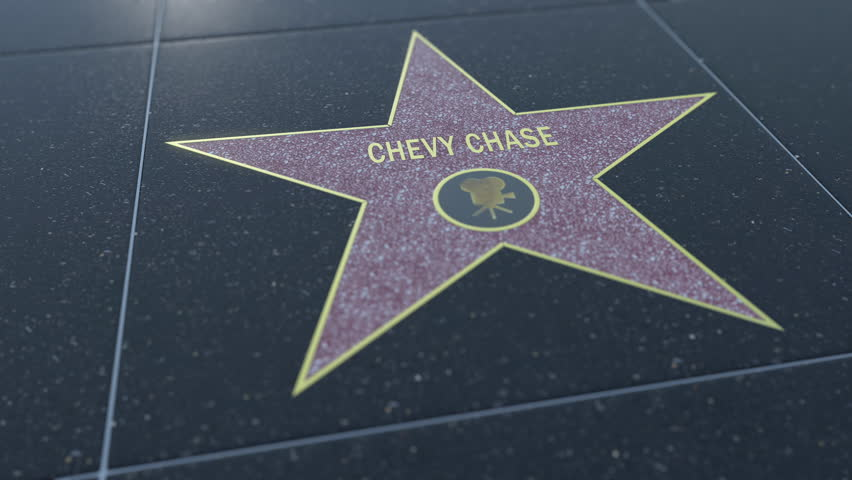 Hollywood Walk of Fame star with CHEVY CHASE inscription. Editorial 4K clip