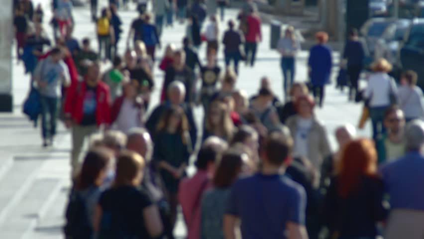 Anonymous crowd of people walking on street slow motion | Shutterstock HD Video #26940331