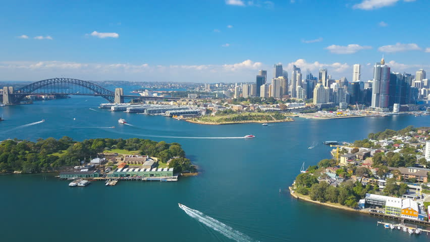 4k aerial hyperlapse video of Sydney Harbour, with view of Harbour Bridge, Opera House and skyline of CBD