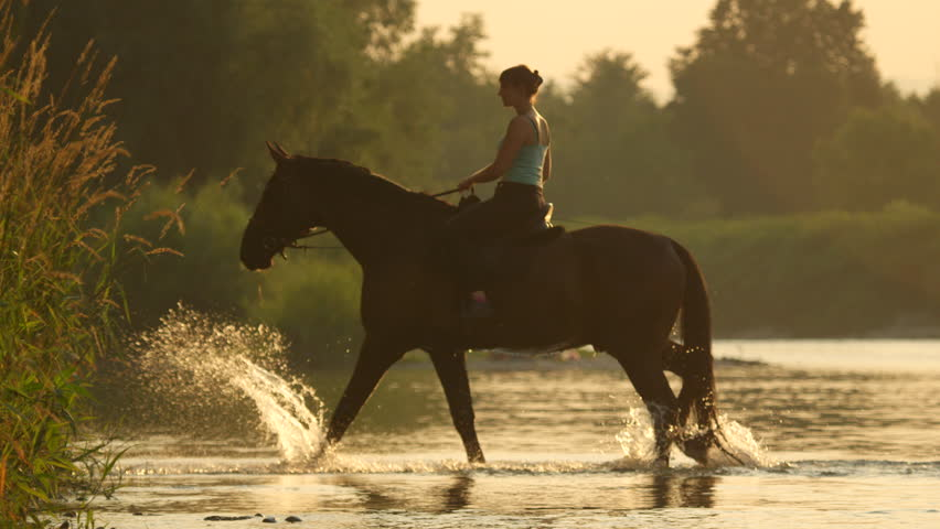 SLOW MOTION, CLOSE UP, DOF: Young girl riding powerful brown stallion in shallow water to other side of the riverbank in countryside. Dark bay horse crossing wider river at magical golden light sunset | Shutterstock HD Video #26967109