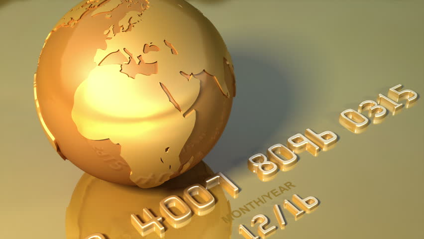 Gold globe and gold credit card. Loops Business 3d animation,