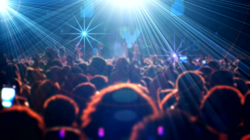 Crowd singing artist cheering, rock music pop music slow music rap music scene shows Concert crowd applause concert stage and concert hall neon Flood led nights club jumping hall waving silhouettes #2697704