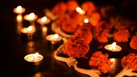 Deepabali , Deepavali or Deepawali - the festival of lights, is widely celebrated in India and now all over the world. Rangoli Diyas - colourful and decorated candles are lit in night. 4K.