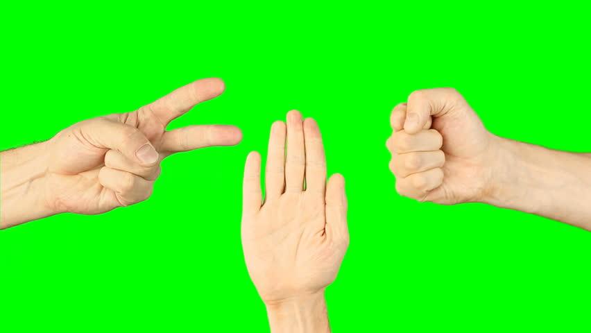 Rock paper scissors hand game. Three hands bottom view. Green screen chroma key alpha matte. Hand gestures competition. Make choice. Random selection methods. Winner loser tournament. Play game | Shutterstock HD Video #26985838