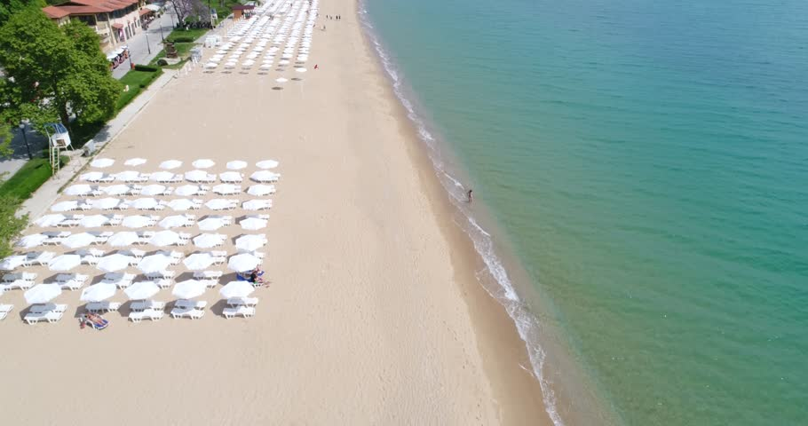 4k aerial video of the beach in Golden Sands, Zlatni Piasaci. Popular summer resort near Varna, Bulgaria   Shutterstock HD Video #26991718