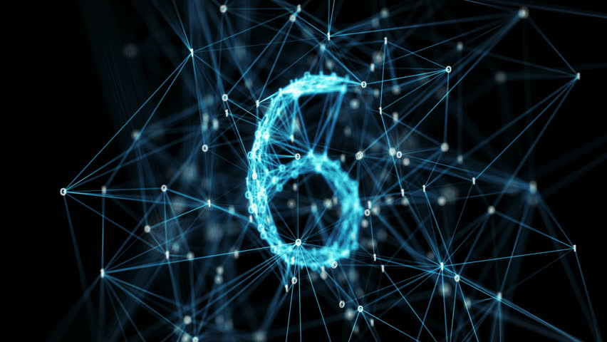 Abstract digital binary data nodes and connection paths form a countdown. The numbers are transformed one into another, creating stylish digital plexus motion graphics. Rotating camera Alpha Matte 4k Royalty-Free Stock Footage #27007552