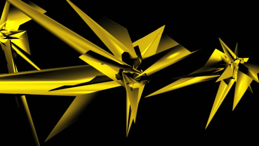Complex spiky yellow shapes rotating through black space | Shutterstock HD Video #2700782