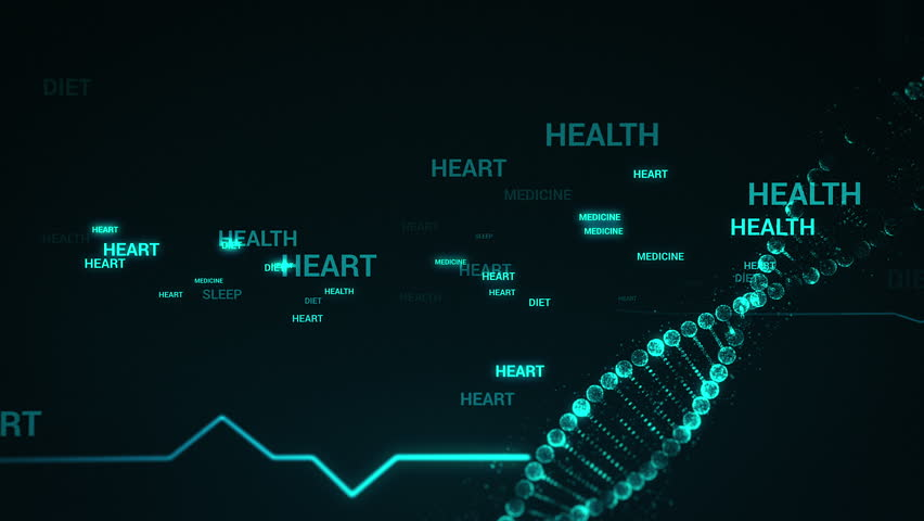 Medical backdrop with heart beat pulse and holographic DNA molecule moving against black background | Shutterstock HD Video #27014191