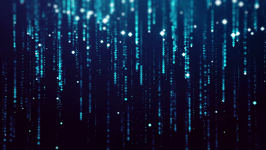 Abstract computer animated background with small glowing particles of blue color falling from above against black background | Shutterstock HD Video #27014422