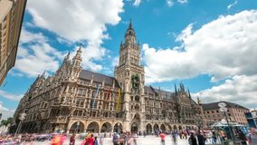 Tourists at the Marienplatz street in Munich view in front of Town Hall. The Marienplatz is central square in the city centre of Munich, Germany. Hyperlapse footage