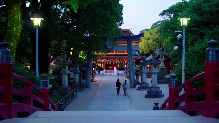 Straight, perspective footpath in Dazaifu Tenmangu shrine at night | Shutterstock HD Video #27034477