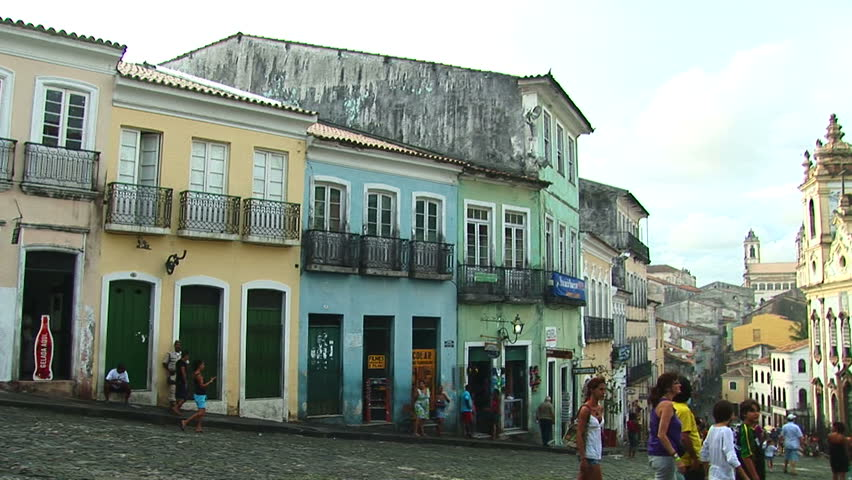 SALVADOR, BRAZIL - April 2008: Colorful buildings of historical center in Salvador, Bahia, Brazil