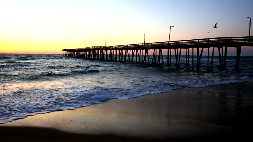 Fishing Pier at Sunrise at Virginia Beach, Virginia, USA