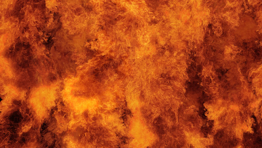Inferno fire wall in real-time with seamless loop isolated, hell fire burning up, shooting with high speed camera, intense fuel blazing, perfect for digital composition. #27075142