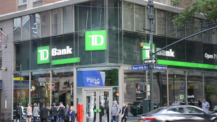 NEW YORK - CIRCA MAY 2017. After the financial crisis, many politicians supported increased regulations for Wall Street banks and financial institutions such as Canada based TD Bank