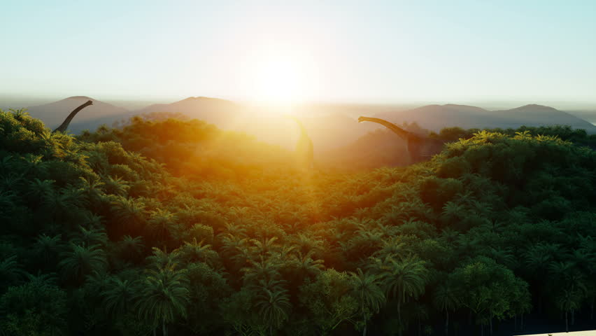 Mountain, field landscape with dinosaurs. Palm trees. Aerial view. Jungle. Realistic 4k animation .