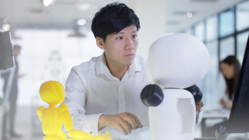4K Asian electronics engineer working in lab with robot prototype Royalty-Free Stock Footage #27092599