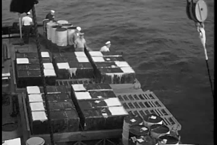 1950s: Radioactive waste material is dumped in the Atlantic Ocean by the United States Coast Guard and an animation and a Fathometer reading show the depth, in 1959.
