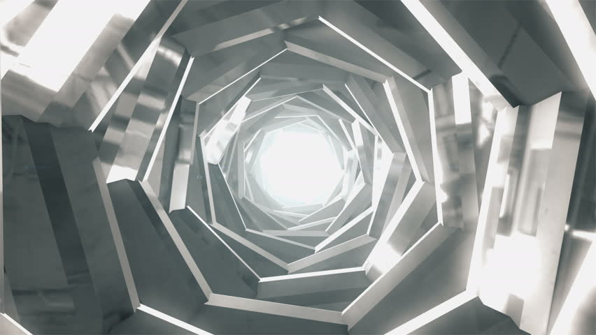 4K Abstract technology tunnel. Silver metal construction sharp corners with reflections the camera rotates and moves forward towards the White light. Dynamic background for project