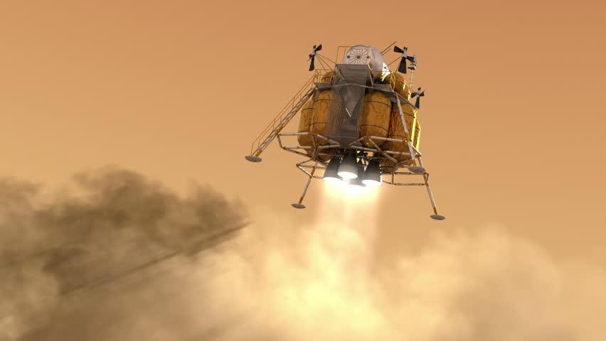 The Descent Module Landing On Planet Mars. Realistic 3D Animation.