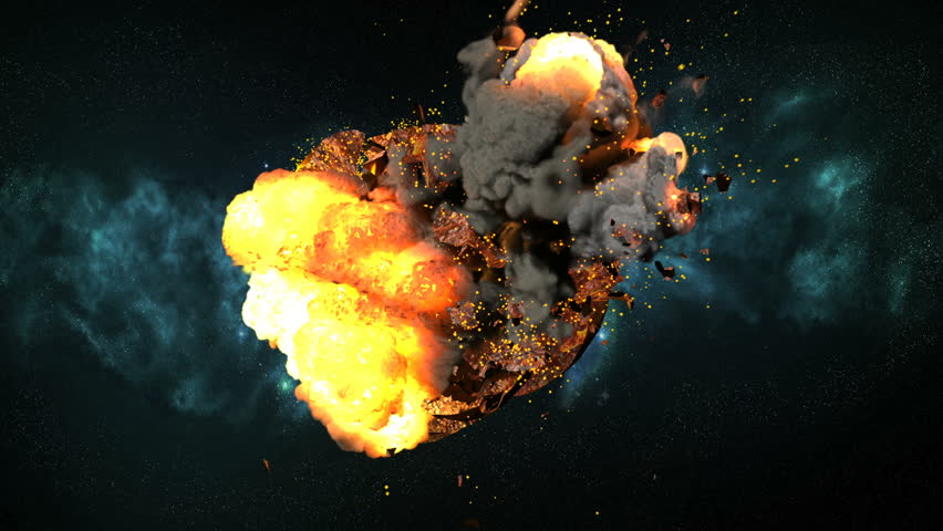 Planet Earth explodes with large debris, fire flames, smoke and magma. Comes with the Alpha Matte.  No extra glows, lensflares or camera shake.