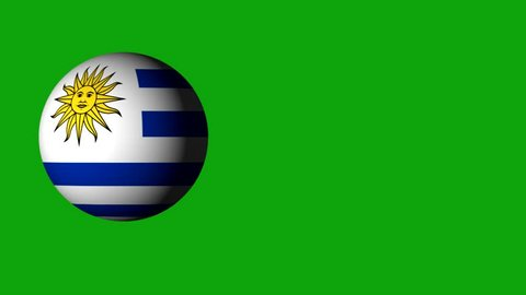 roll the ball with the flag of Uruguay,the ball casts a shadow. design for web sites.use for sporting events.use for advertising purposes.there are flags of all the countries in the portfolio.3D roll