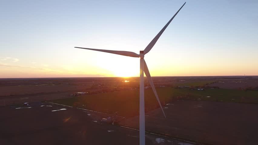 Aerial wind turbine in sunset medium heigh sideways flight | Shutterstock HD Video #27168160