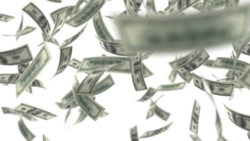 One hundred dollar bills falling through air. HD 1080 | Shutterstock HD Video #2716985
