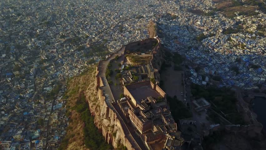 4K Aerial view of mehrangarh fort in Jodhpur, Rajasthan, India.