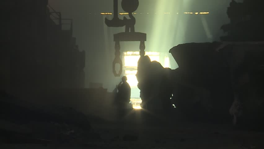 Workers on steel plant operates with molten metal. Copper plant | Shutterstock HD Video #27196858