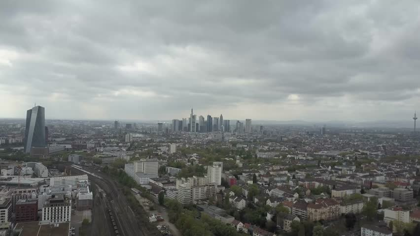 Frankfurt Skyline with Moving Train Aerial Drone Shot | Shutterstock HD Video #27202654