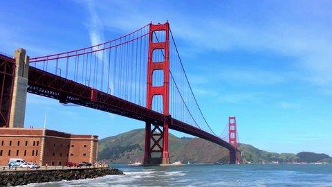 San Francisco, California, USA - April 2017: The Golden Gate Bridge, 4K footage