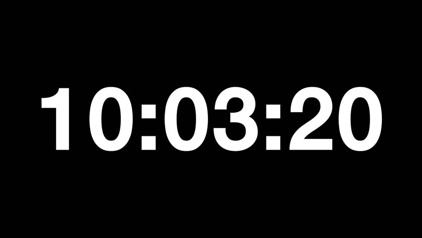 Countdown of 24 hours. Digital clock full 24h time-lapse - white numbers on black background. Timer with minutes and seconds.