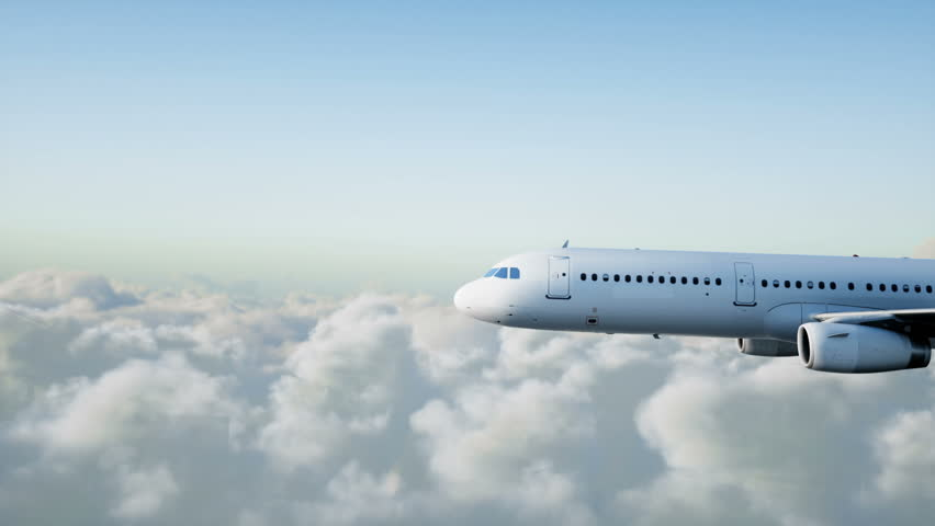 Passenger airbus a321 flying in the clouds. Travel concept. Realistic 4K animation.