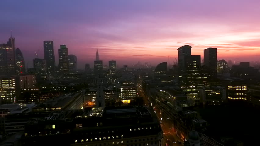 Iconic London Skyscrapers Aerial Panoramic Shot at Dusk Night Time with Beautiful Sky feat. Iconic Business Buildings in London, England UK    Shutterstock HD Video #27230275