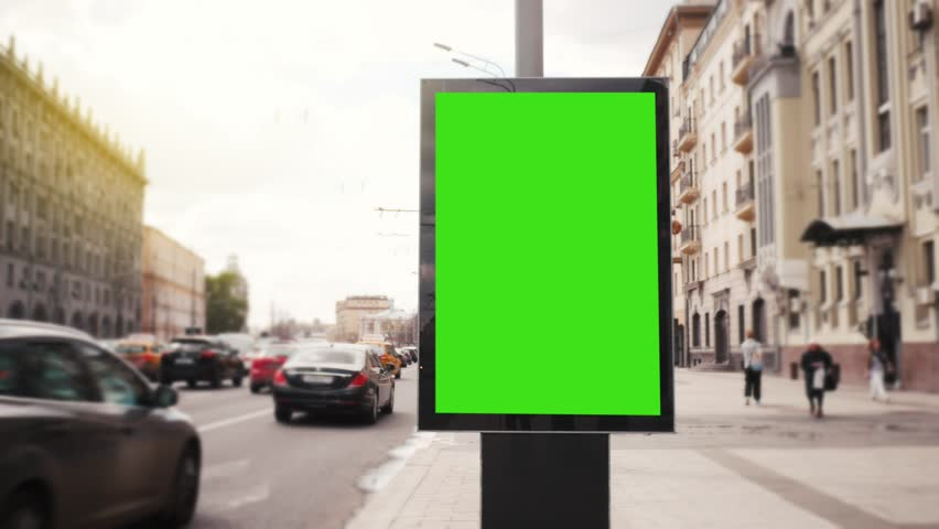 A Billboard with a Green Screen on a Busy Street | Shutterstock HD Video #27230950