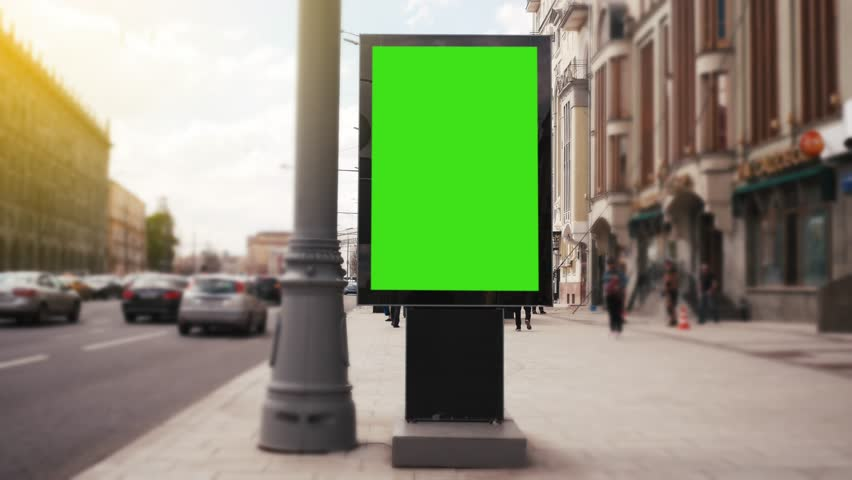 A Billboard with a Green Screen on a Busy Street | Shutterstock HD Video #27230953