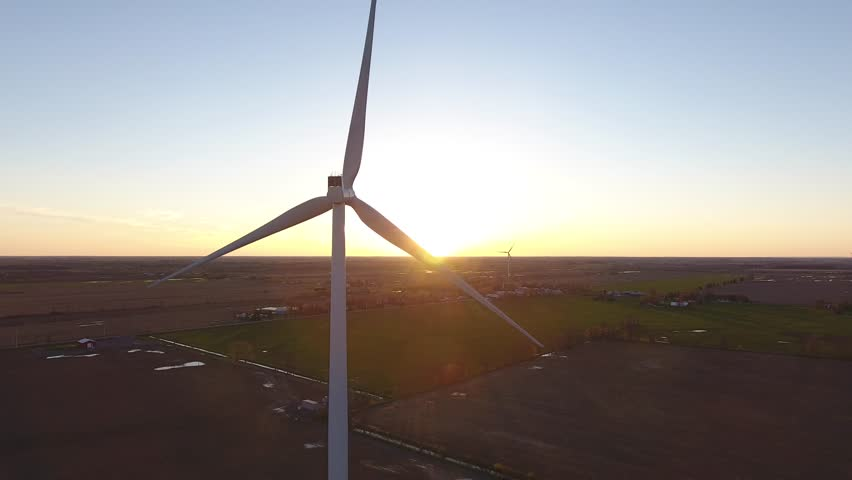 Aerial wind turbine sunset through the props ascending view | Shutterstock HD Video #27233374
