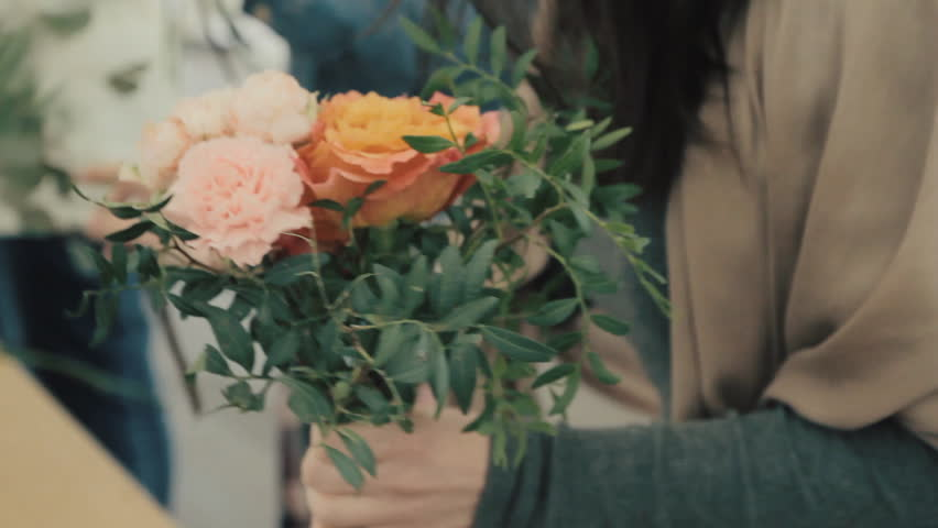 Boutique stylish contemporary compositions of flowers,alot of flowers in a flower shop, beautiful bouquet of flowers close up without people, | Shutterstock HD Video #27243832