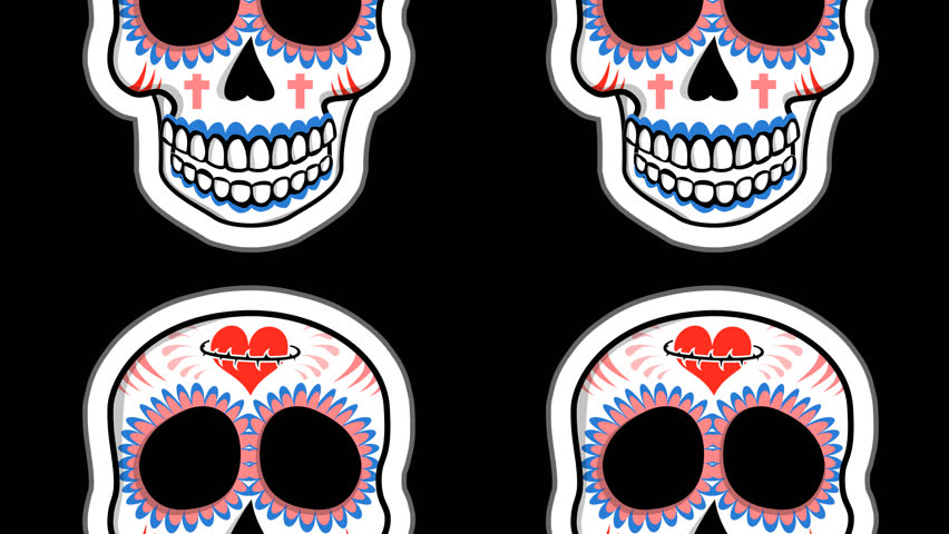 Seamless animation of cartoon mexican candy skulls with alpha.