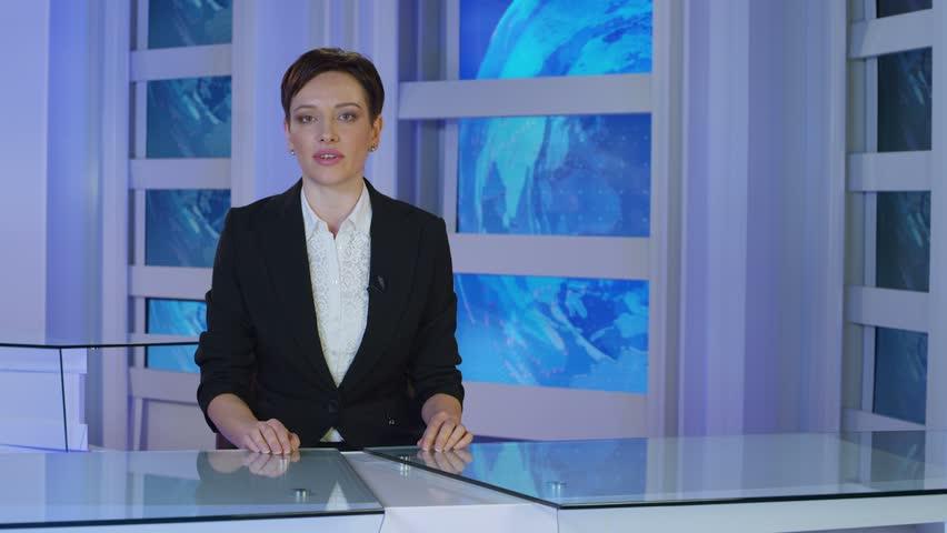 News reporter talking in studio.  | Shutterstock HD Video #27254128