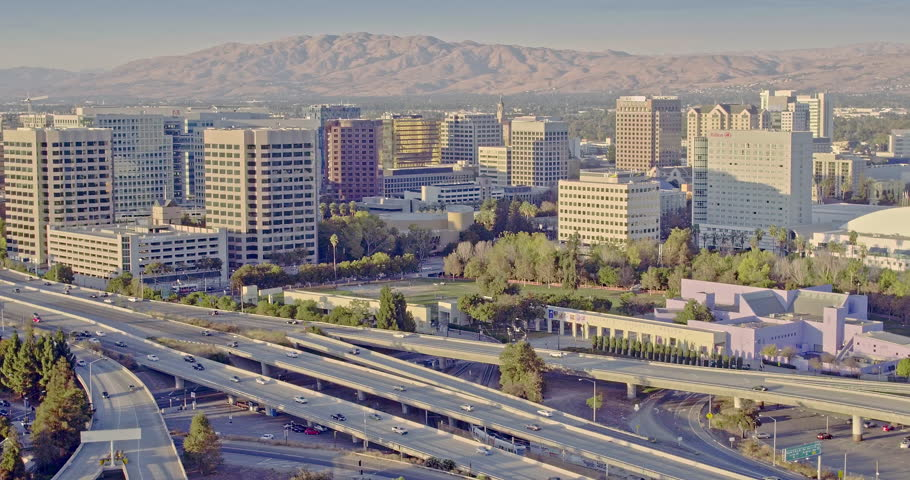 Aerial USA San Jose California Downtown city buildings Silicon Valley Urban residential travel business Technology travel at rush hour