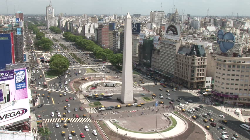 ARGENTINA - CIRCA 2007: A view of avenue, billboards and obelisk in Buenos Aires, Argentina