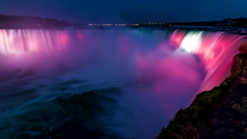 Amazing Niagara Falls Horseshoe Waterfall Light Show Changing Colors at