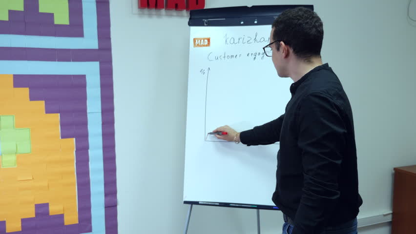 Young business manager lectures on training in front of whiteboard with a graph.   Shutterstock HD Video #27280231
