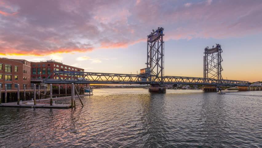 Portsmouth, New Hampshire, USA at Memorial Bridge on the Piscataqua River.