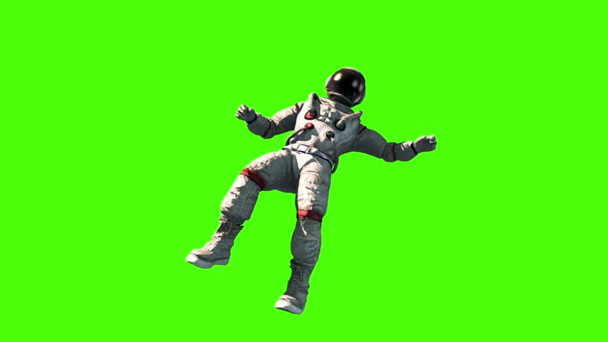 Astronaut Fly Flip Space Earth Green Screen 3D Rendering Animation #27325180