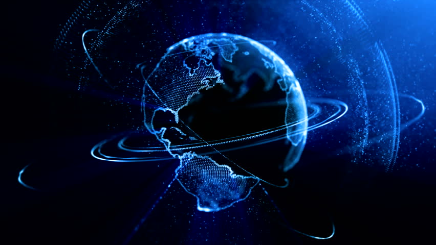 Visible Earth Blue Marble Digital Clouds Earth rotating animation social future technology abstract 3Drendering scientific growth data network surrounding planet earth rotating Digital data globe loop