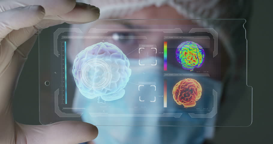 A futuristic physician, a surgeon examines a technological digital holographic plate Human brain a medical mask, a cap brown eyes Concept futuristic medicine new technologies doctors laboratory future