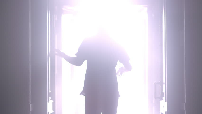 Man silhouette back going to the light at night. Male silhouette going to bright light. Man silhouette walking to light in the darkness. Man open door light in dark. Escape concept | Shutterstock HD Video #27359629